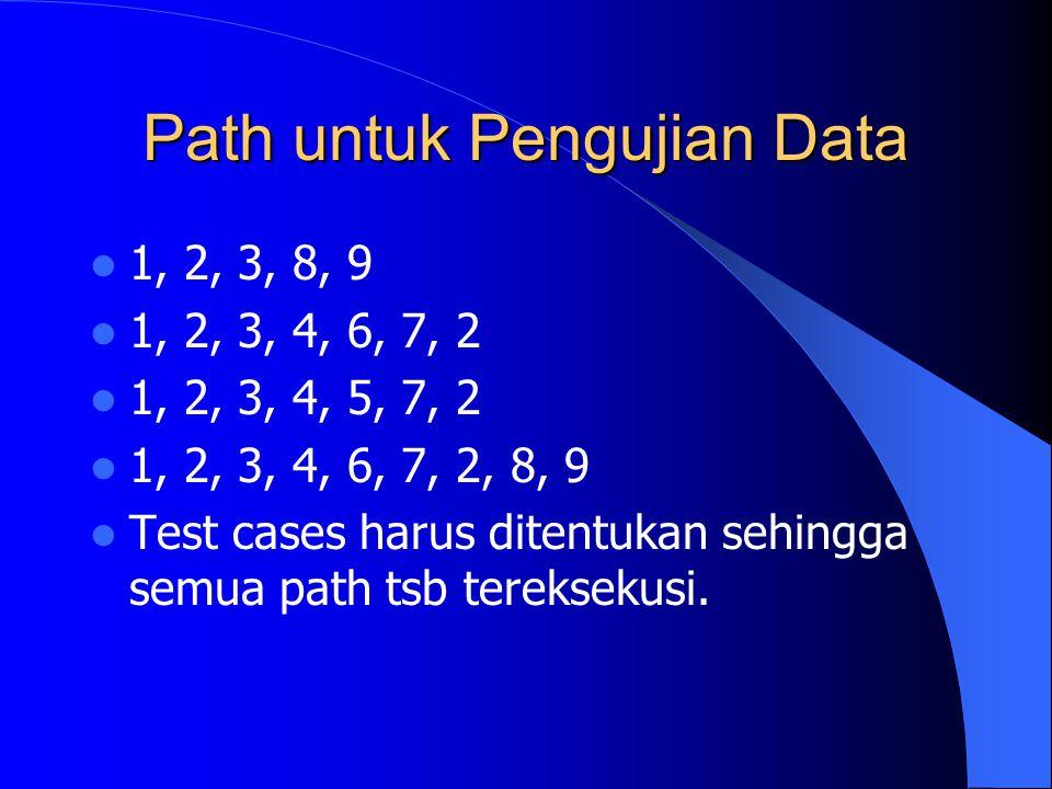 Path untuk Pengujian Data 1, 2, 3, 8, 9 1, 2, 3, 4, 6, 7, 2 1, 2, 3, 4, 5, 7, 2 1, 2, 3, 4, 6, 7, 2, 8, 9 Test cases harus ditentukan sehingga semua p