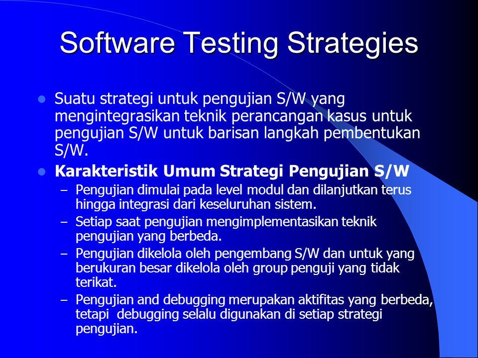 Software Testing Strategies Suatu strategi untuk pengujian S/W yang mengintegrasikan teknik perancangan kasus untuk pengujian S/W untuk barisan langka