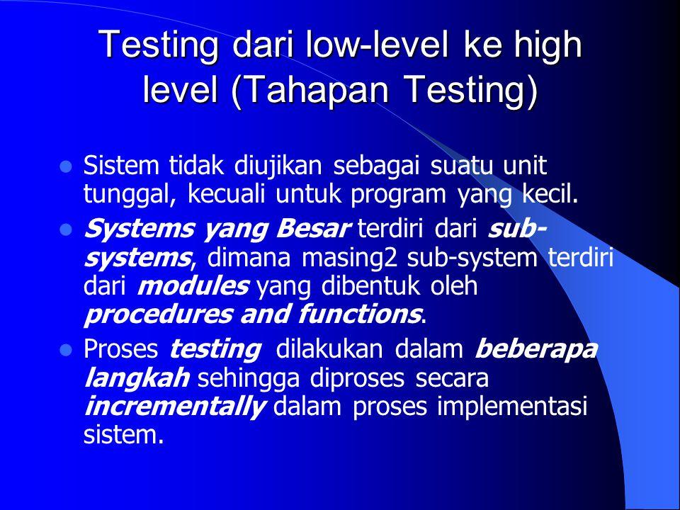 Integration Testing Top-down testing – Berawal dari level-atas system dan terintegrasi dengan mengganti masing-masing komponen secara top-down dengan suatu stub (program pendek yg mengenerate input ke sub-system yg diuji).