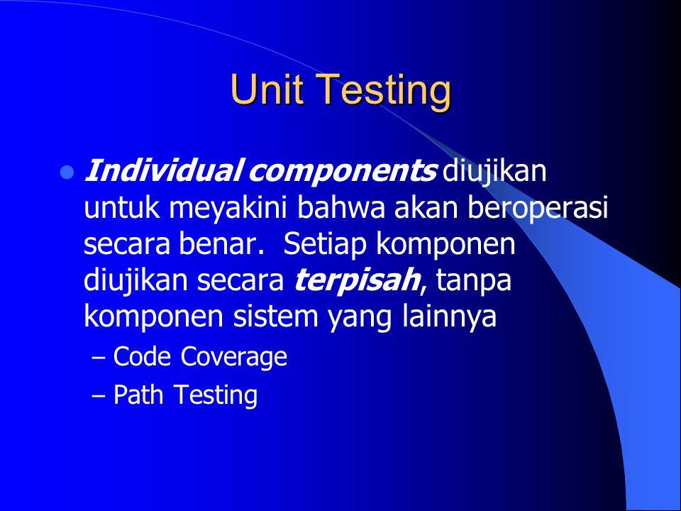 Unit Testing Individual components diujikan untuk meyakini bahwa akan beroperasi secara benar. Setiap komponen diujikan secara terpisah, tanpa kompone