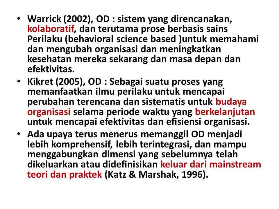 Warrick (2002), OD : sistem yang direncanakan, kolaboratif, dan terutama prose berbasis sains Perilaku (behavioral science based )untuk memahami dan m