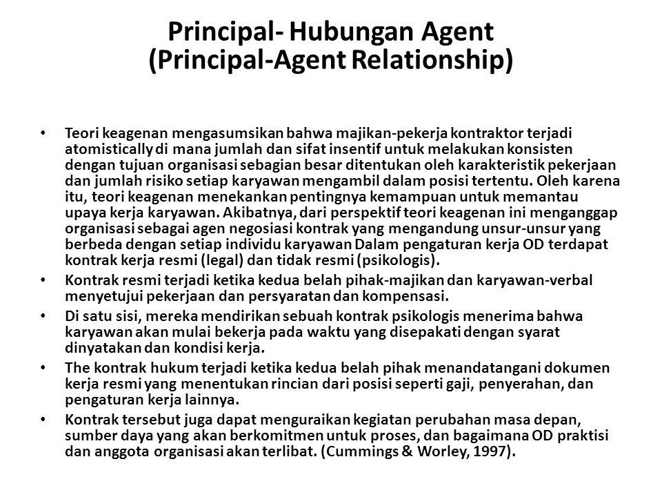 Principal- Hubungan Agent (Principal-Agent Relationship) Teori keagenan mengasumsikan bahwa majikan-pekerja kontraktor terjadi atomistically di mana j