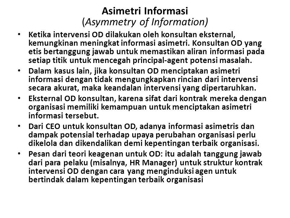 Asimetri Informasi (Asymmetry of Information) Ketika intervensi OD dilakukan oleh konsultan eksternal, kemungkinan meningkat informasi asimetri. Konsu