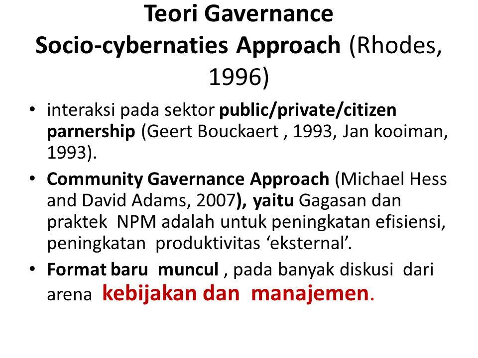 Teori Gavernance Socio-cybernaties Approach (Rhodes, 1996) interaksi pada sektor public/private/citizen parnership (Geert Bouckaert, 1993, Jan kooiman