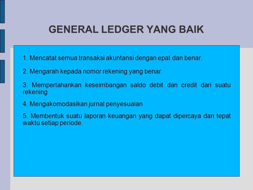 GENERAL LEDGER YANG BAIK 1.Mencatat semua transaksi akuntansi dengan epat dan benar.