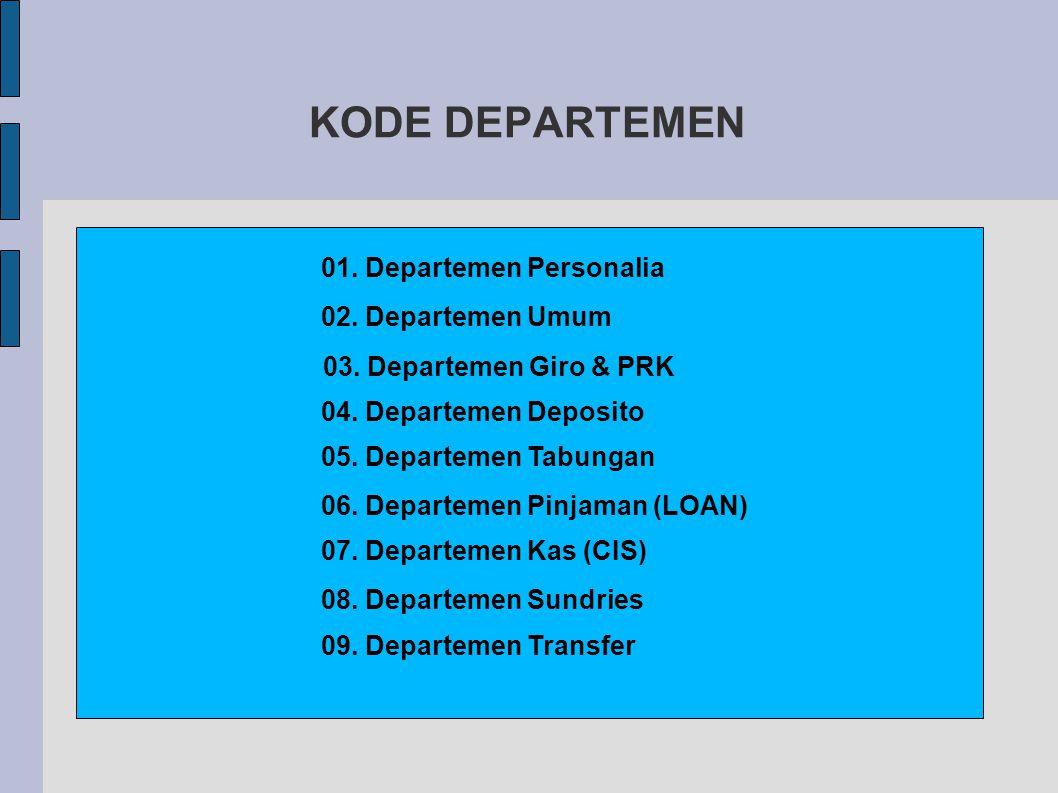 KODE DEPARTEMEN 01.Departemen Personalia 02. Departemen Umum 03.