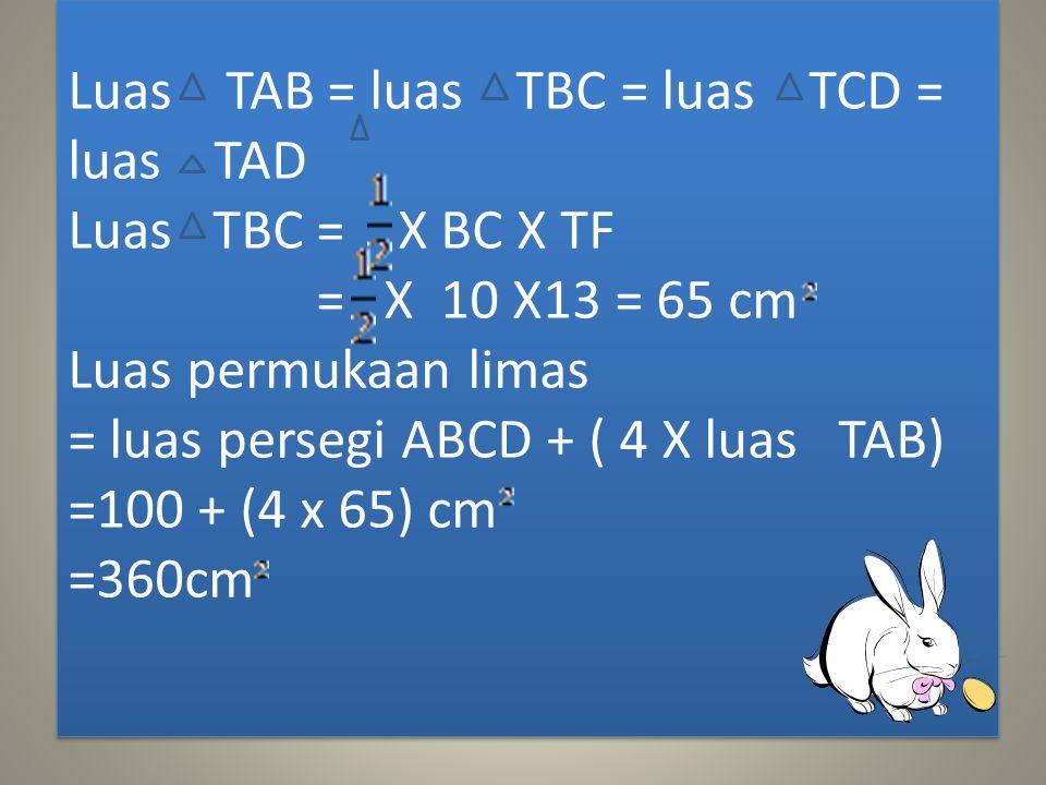 Perhatikan bahwa TEF siku – siku karena TEF siku – siku maka berlaku teorema pytagoras,sehingga TF = TE + EF = 12 + 5 = 144 + 25 = 169 TF =169 =13 cm
