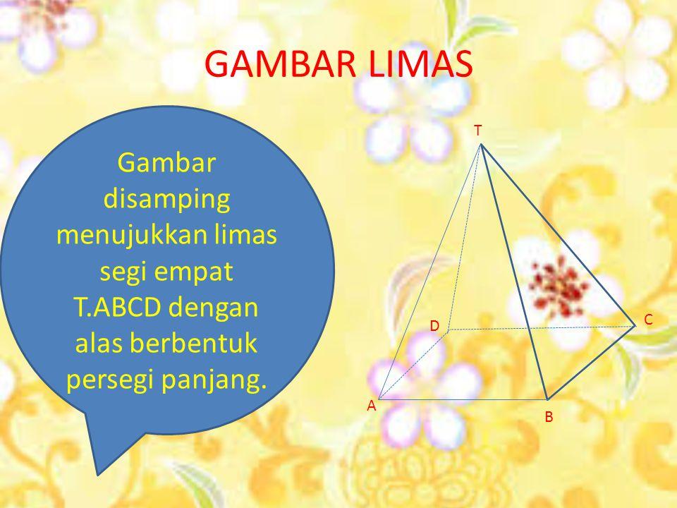 GAMBAR LIMAS Gambar disamping menujukkan limas segi empat T.ABCD dengan alas berbentuk persegi panjang.