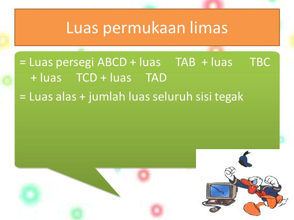 Luas permukaan limas = Luas persegi ABCD + luas TAB + luas TBC + luas TCD + luas TAD = Luas alas + jumlah luas seluruh sisi tegak = Luas persegi ABCD + luas TAB + luas TBC + luas TCD + luas TAD = Luas alas + jumlah luas seluruh sisi tegak