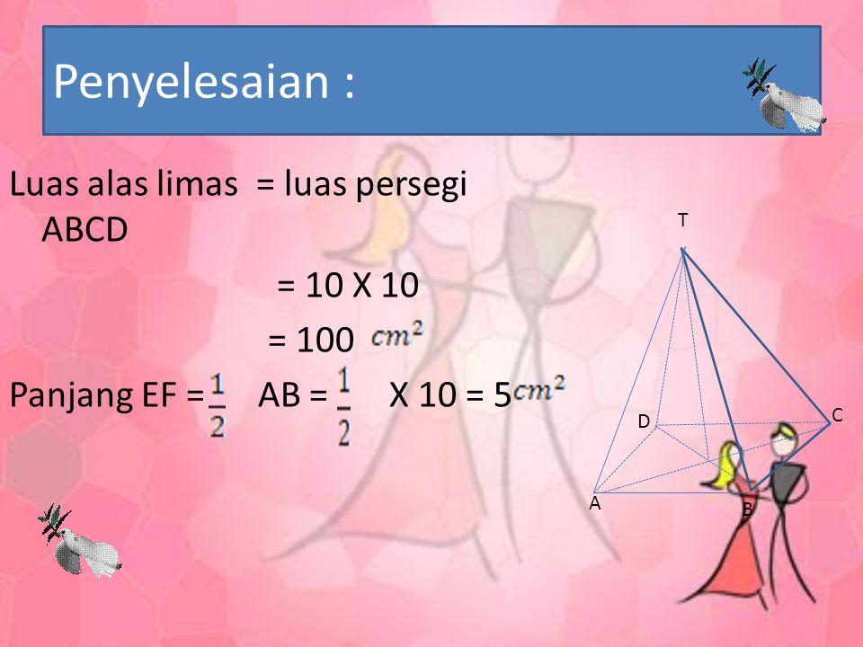 Contoh: Diketahui alas sebuah limas T.ABCD berbentuk persegi dengan panjang rusuk 10 cm dan tinggi limas 12 cm. Hitunglah luas permukaan limas.