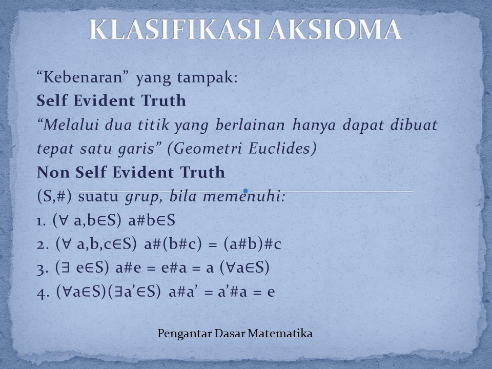 """""""Kebenaran"""" yang tampak: Self Evident Truth """"Melalui dua titik yang berlainan hanya dapat dibuat tepat satu garis"""" (Geometri Euclides) Non Self Eviden"""