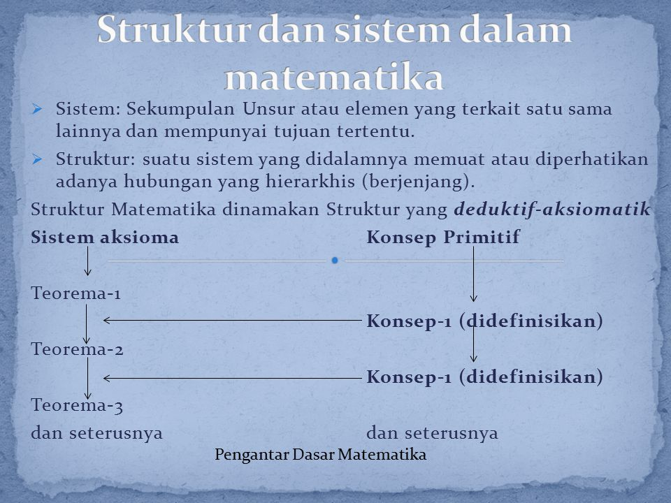  Sistem: Sekumpulan Unsur atau elemen yang terkait satu sama lainnya dan mempunyai tujuan tertentu.  Struktur: suatu sistem yang didalamnya memuat a