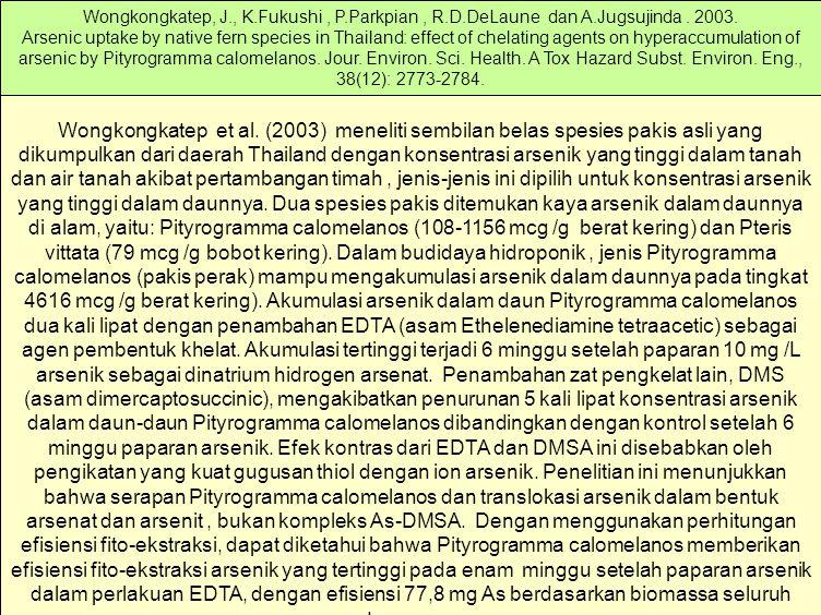 Wongkongkatep et al. (2003) meneliti sembilan belas spesies pakis asli yang dikumpulkan dari daerah Thailand dengan konsentrasi arsenik yang tinggi da
