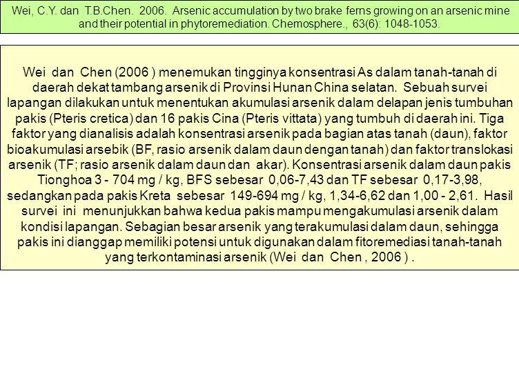 Wei dan Chen (2006 ) menemukan tingginya konsentrasi As dalam tanah-tanah di daerah dekat tambang arsenik di Provinsi Hunan China selatan. Sebuah surv