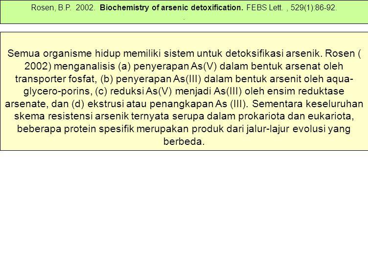 Semua organisme hidup memiliki sistem untuk detoksifikasi arsenik. Rosen ( 2002) menganalisis (a) penyerapan As(V) dalam bentuk arsenat oleh transport