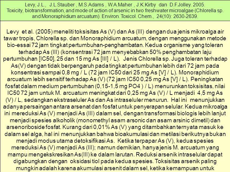 Levy et al. (2005) meneliti toksisitas As (V) dan As (III) dengan dua jenis mikroalga air tawar tropis, Chlorella sp. dan Monoraphidium arcuatum, deng