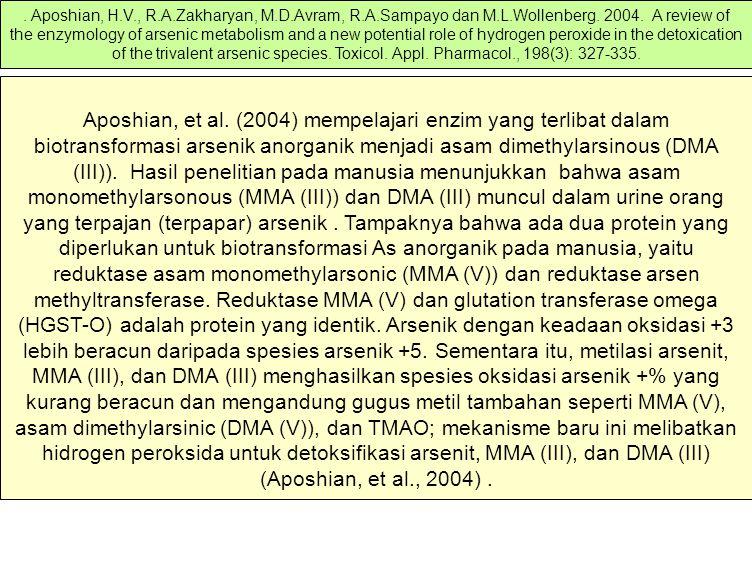 Aposhian, et al. (2004) mempelajari enzim yang terlibat dalam biotransformasi arsenik anorganik menjadi asam dimethylarsinous (DMA (III)). Hasil penel