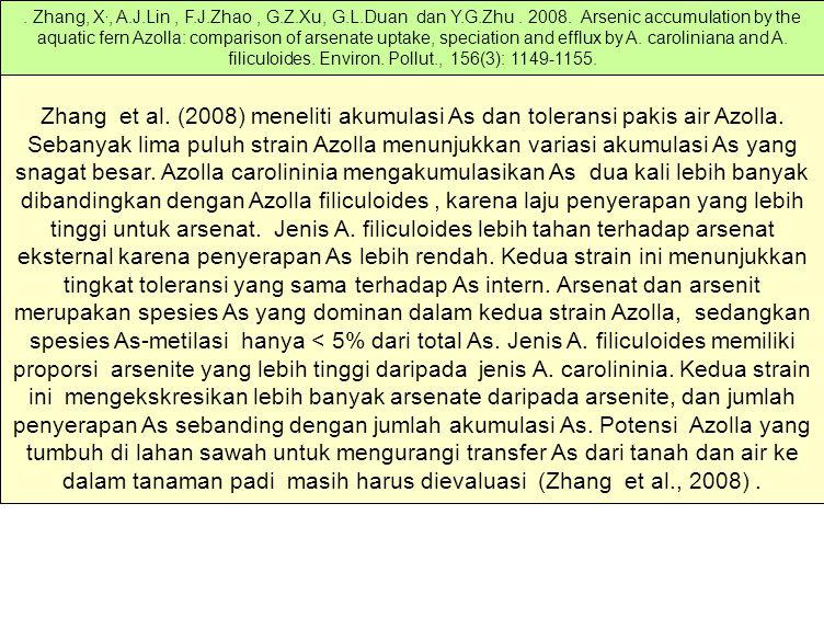 Zhang et al. (2008) meneliti akumulasi As dan toleransi pakis air Azolla. Sebanyak lima puluh strain Azolla menunjukkan variasi akumulasi As yang snag