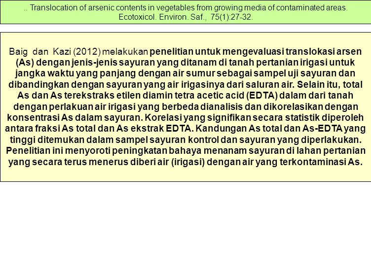 Baig dan Kazi (2012) melakukan penelitian untuk mengevaluasi translokasi arsen (As) dengan jenis-jenis sayuran yang ditanam di tanah pertanian irigasi