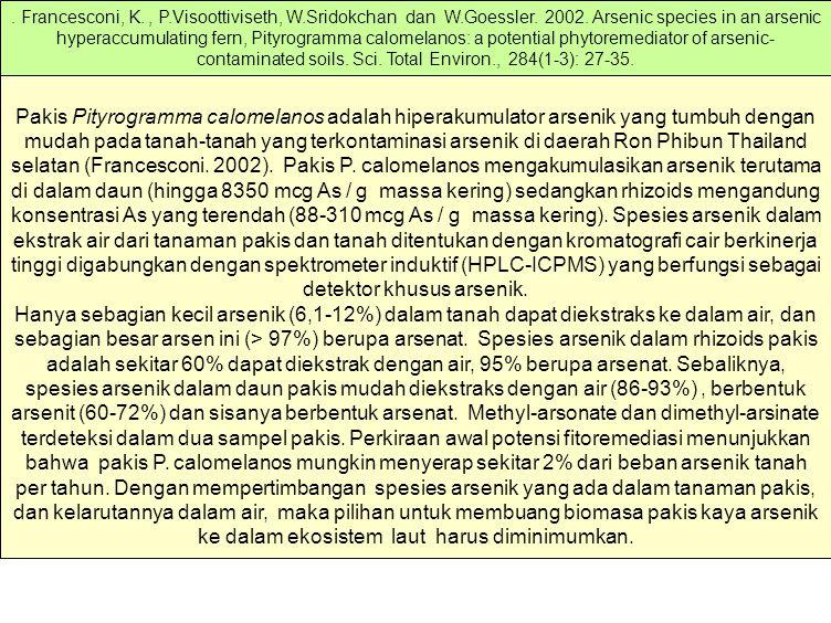 Pakis Pityrogramma calomelanos adalah hiperakumulator arsenik yang tumbuh dengan mudah pada tanah-tanah yang terkontaminasi arsenik di daerah Ron Phib