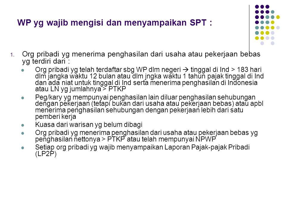 WP yg wajib mengisi dan menyampaikan SPT : 1. Org pribadi yg menerima penghasilan dari usaha atau pekerjaan bebas yg terdiri dari : Org pribadi yg tel