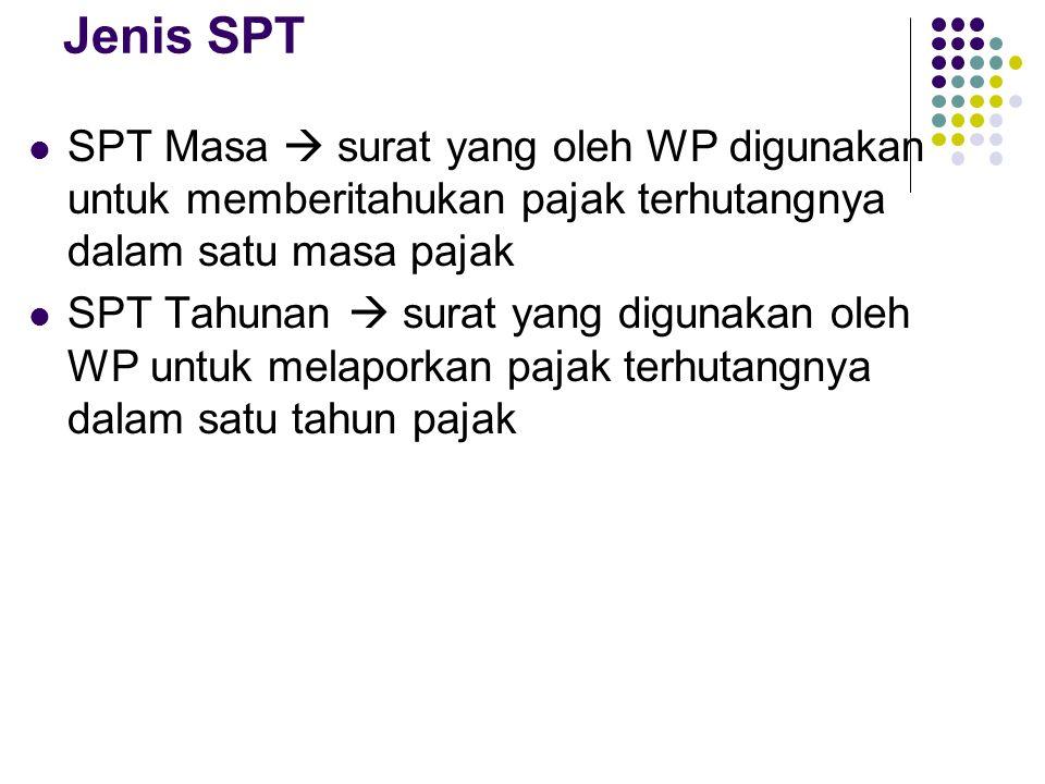 Jenis SPT SPT Masa  surat yang oleh WP digunakan untuk memberitahukan pajak terhutangnya dalam satu masa pajak SPT Tahunan  surat yang digunakan oleh WP untuk melaporkan pajak terhutangnya dalam satu tahun pajak