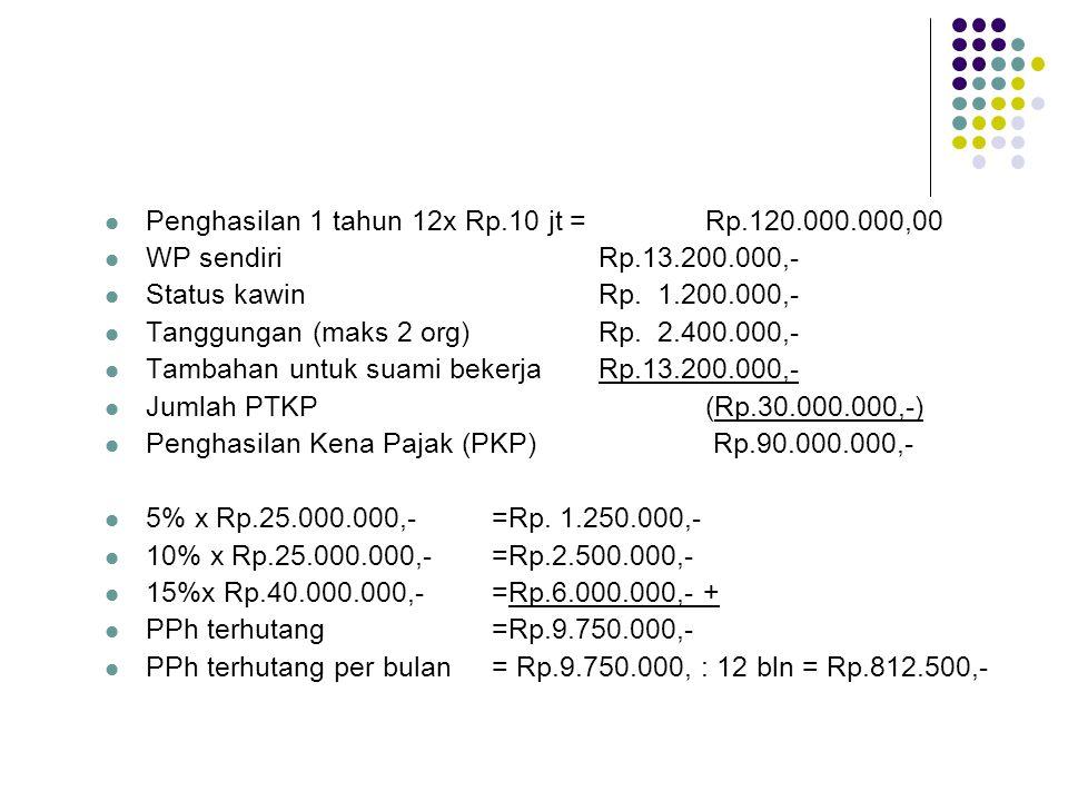 Penghasilan 1 tahun 12x Rp.10 jt = Rp.120.000.000,00 WP sendiriRp.13.200.000,- Status kawinRp. 1.200.000,- Tanggungan (maks 2 org)Rp. 2.400.000,- Tamb