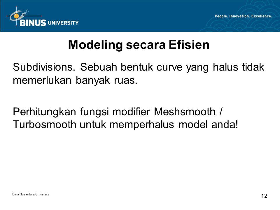 Bina Nusantara University 12 Modeling secara Efisien Subdivisions.