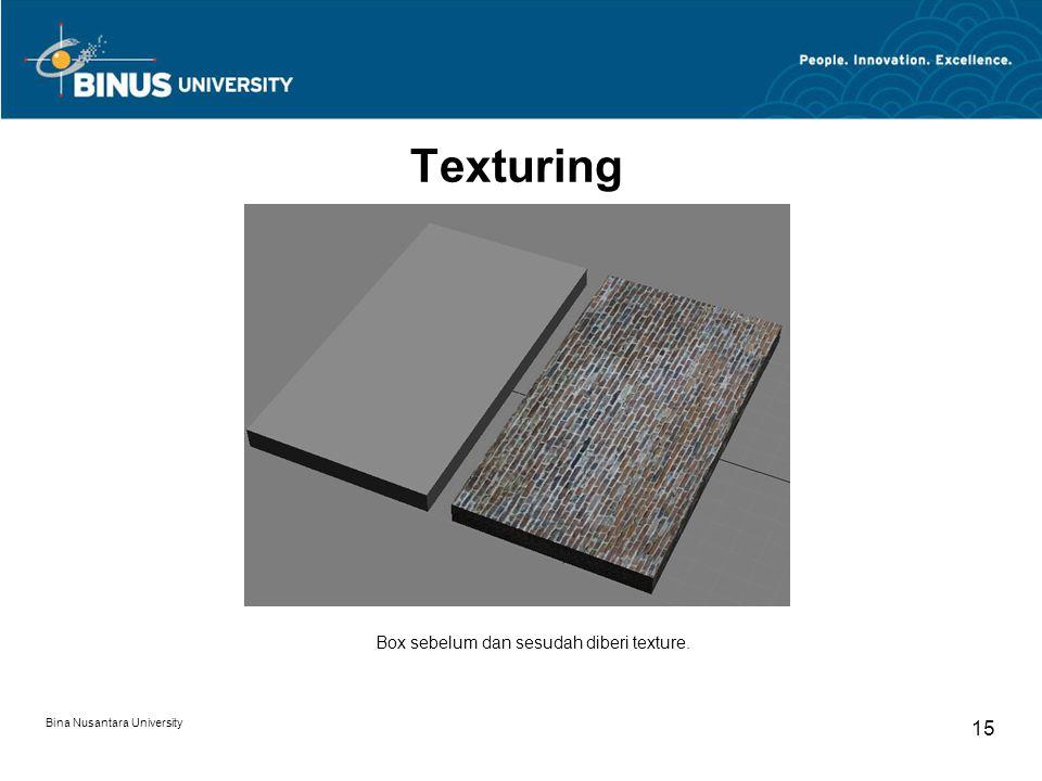 Bina Nusantara University 15 Texturing Box sebelum dan sesudah diberi texture.