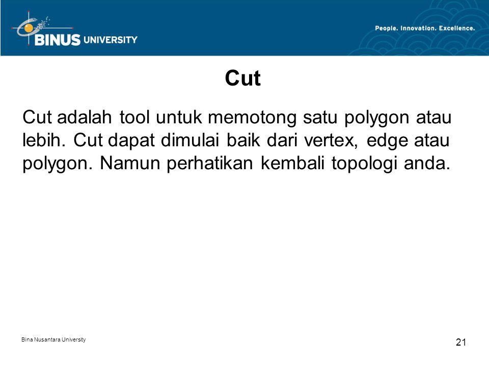 Bina Nusantara University 21 Cut Cut adalah tool untuk memotong satu polygon atau lebih.