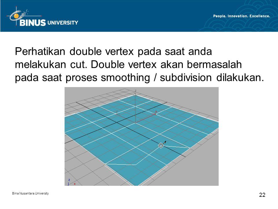 Bina Nusantara University 22 Perhatikan double vertex pada saat anda melakukan cut.