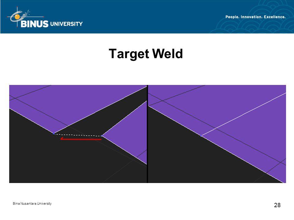 Bina Nusantara University 28 Target Weld