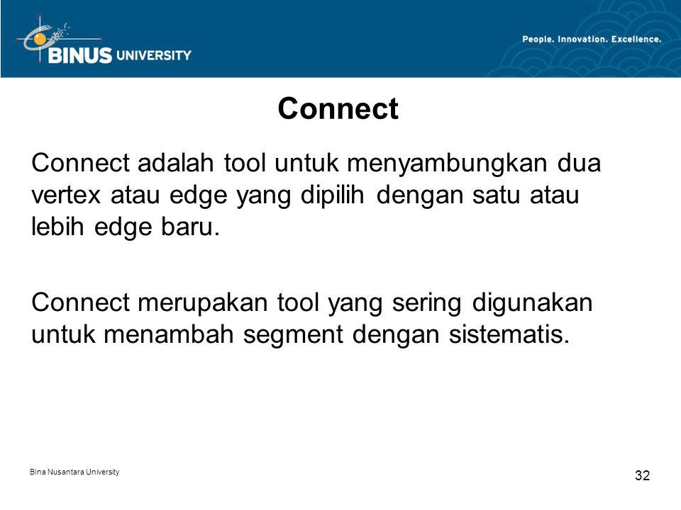 Bina Nusantara University 32 Connect Connect adalah tool untuk menyambungkan dua vertex atau edge yang dipilih dengan satu atau lebih edge baru.