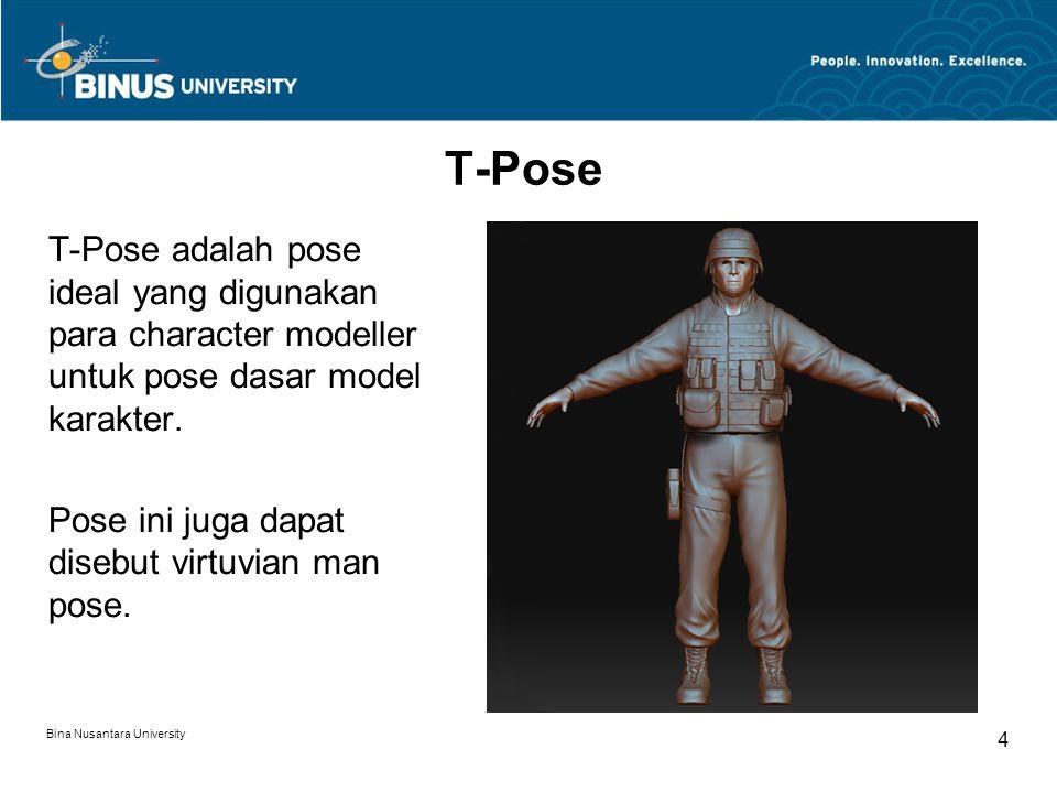 Bina Nusantara University 4 T-Pose T-Pose adalah pose ideal yang digunakan para character modeller untuk pose dasar model karakter.