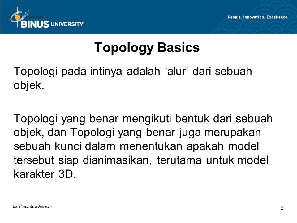 Bina Nusantara University 5 Topology Basics Topologi pada intinya adalah 'alur' dari sebuah objek.