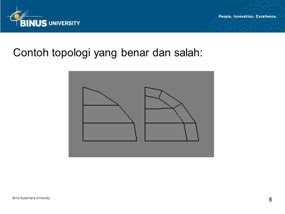 Bina Nusantara University 7 Edge Loop Untuk beberapa permukaan yang memiliki lubang, seperti rongga mata, mulut, dan lubang hidung dalam modeling karakter, topologi yang benar akan memiliki edge loop yang melingkari bagian permukaan yang berlubang tersebut.