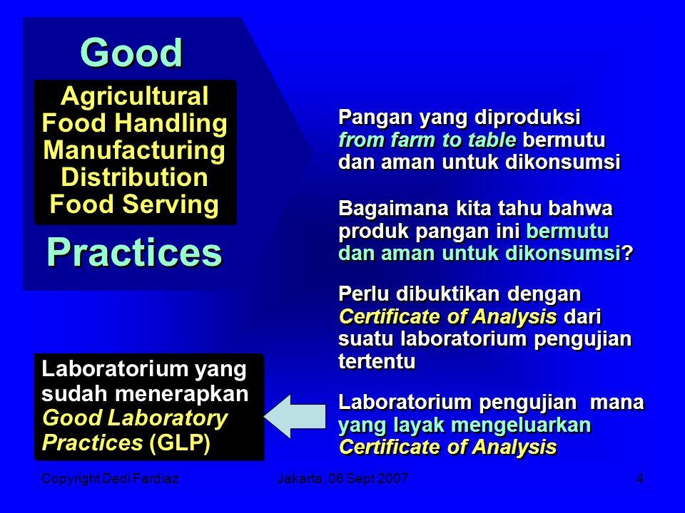 Copyright Dedi FardiazJakarta, 06 Sept 20075 Mengapa ada Good Laboratory Practices.