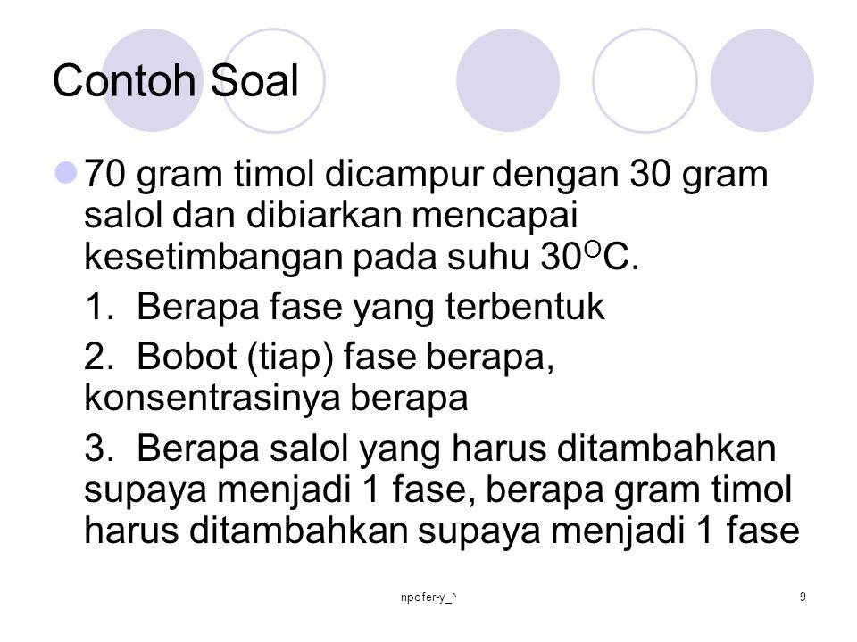 Contoh Soal 70 gram timol dicampur dengan 30 gram salol dan dibiarkan mencapai kesetimbangan pada suhu 30 O C. 1. Berapa fase yang terbentuk 2. Bobot