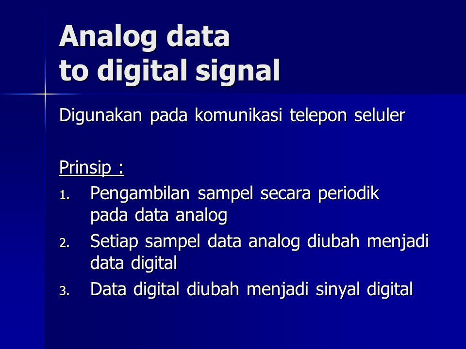 Analog data to digital signal Digunakan pada komunikasi telepon seluler Prinsip : 1. Pengambilan sampel secara periodik pada data analog 2. Setiap sam