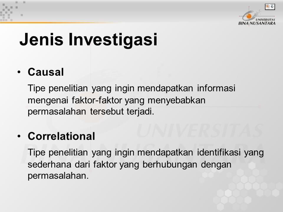 Jenis Investigasi Causal Tipe penelitian yang ingin mendapatkan informasi mengenai faktor-faktor yang menyebabkan permasalahan tersebut terjadi. Corre