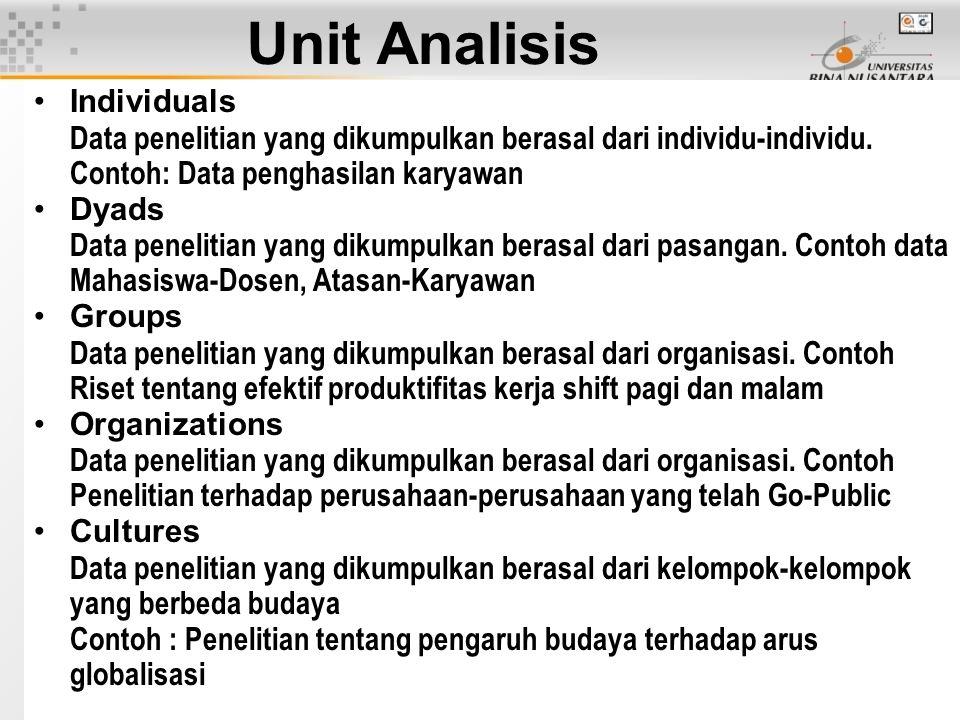 Unit Analisis Individuals Data penelitian yang dikumpulkan berasal dari individu-individu. Contoh: Data penghasilan karyawan Dyads Data penelitian yan