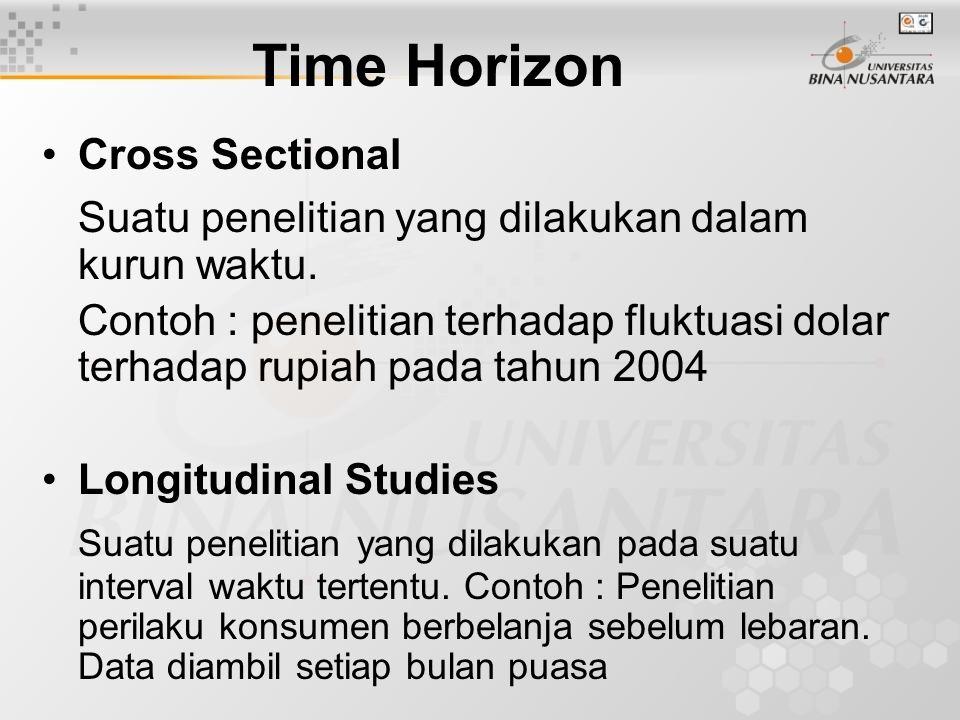 Time Horizon Cross Sectional Suatu penelitian yang dilakukan dalam kurun waktu. Contoh : penelitian terhadap fluktuasi dolar terhadap rupiah pada tahu