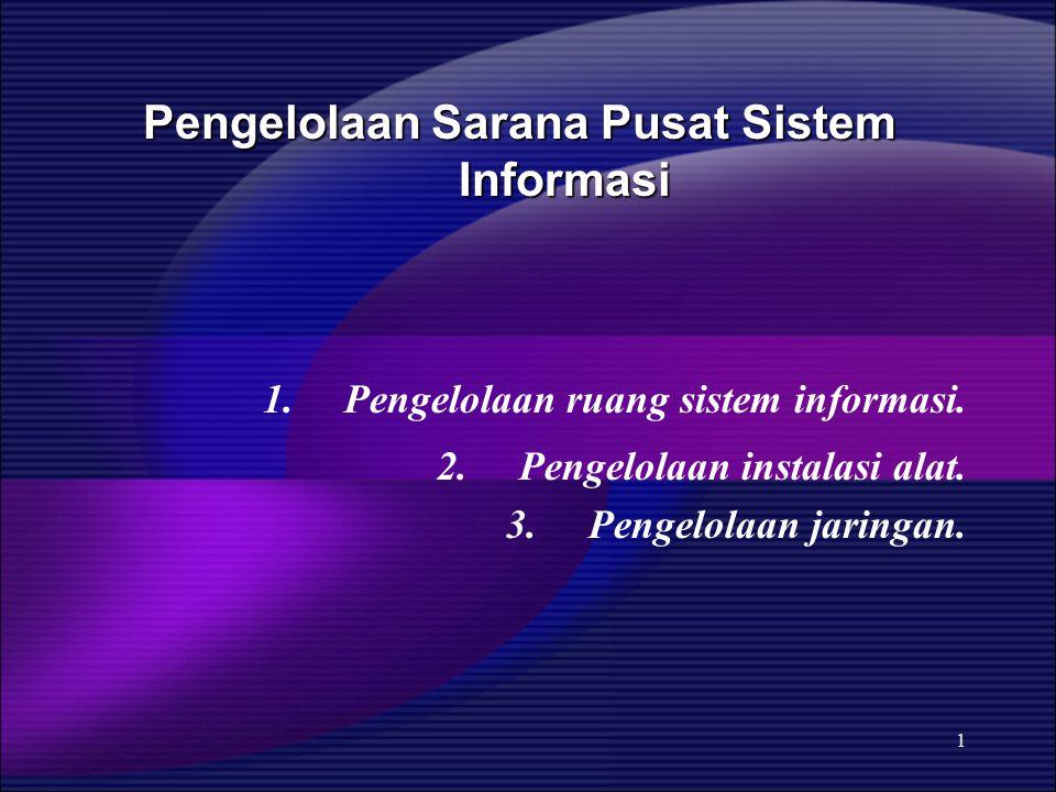 1 Pengelolaan Sarana Pusat Sistem Informasi Pengelolaan Sarana Pusat Sistem Informasi 1. Pengelolaan ruang sistem informasi. 2. Pengelolaan instalasi