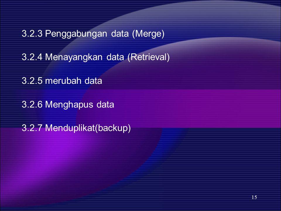 15 3.2.3 Penggabungan data (Merge) 3.2.4 Menayangkan data (Retrieval) 3.2.5 merubah data 3.2.6 Menghapus data 3.2.7 Menduplikat(backup)