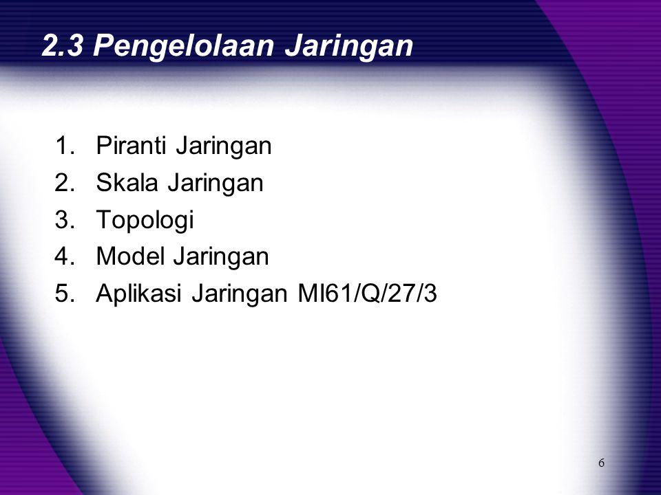 6 2.3 Pengelolaan Jaringan 1.Piranti Jaringan 2.Skala Jaringan 3.Topologi 4.Model Jaringan 5.Aplikasi Jaringan MI61/Q/27/3