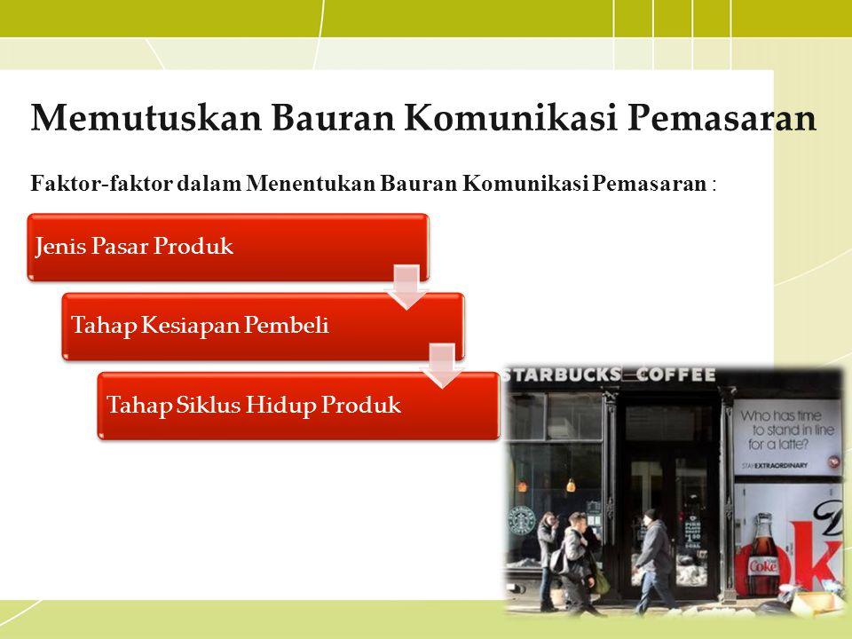 Memutuskan Bauran Komunikasi Pemasaran Faktor-faktor dalam Menentukan Bauran Komunikasi Pemasaran : Jenis Pasar ProdukTahap Kesiapan PembeliTahap Sikl