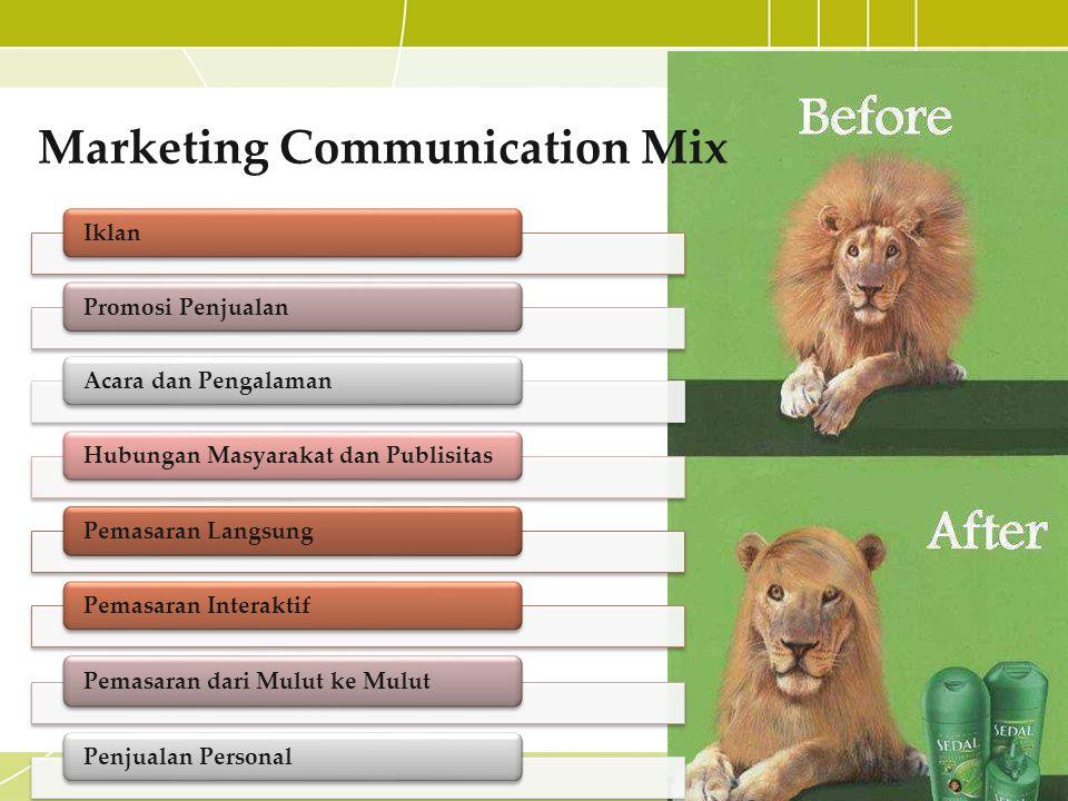 Marketing Communication Mix Iklan Promosi PenjualanAcara dan Pengalaman Hubungan Masyarakat dan Publisitas Pemasaran Langsung Pemasaran Interaktif Pem
