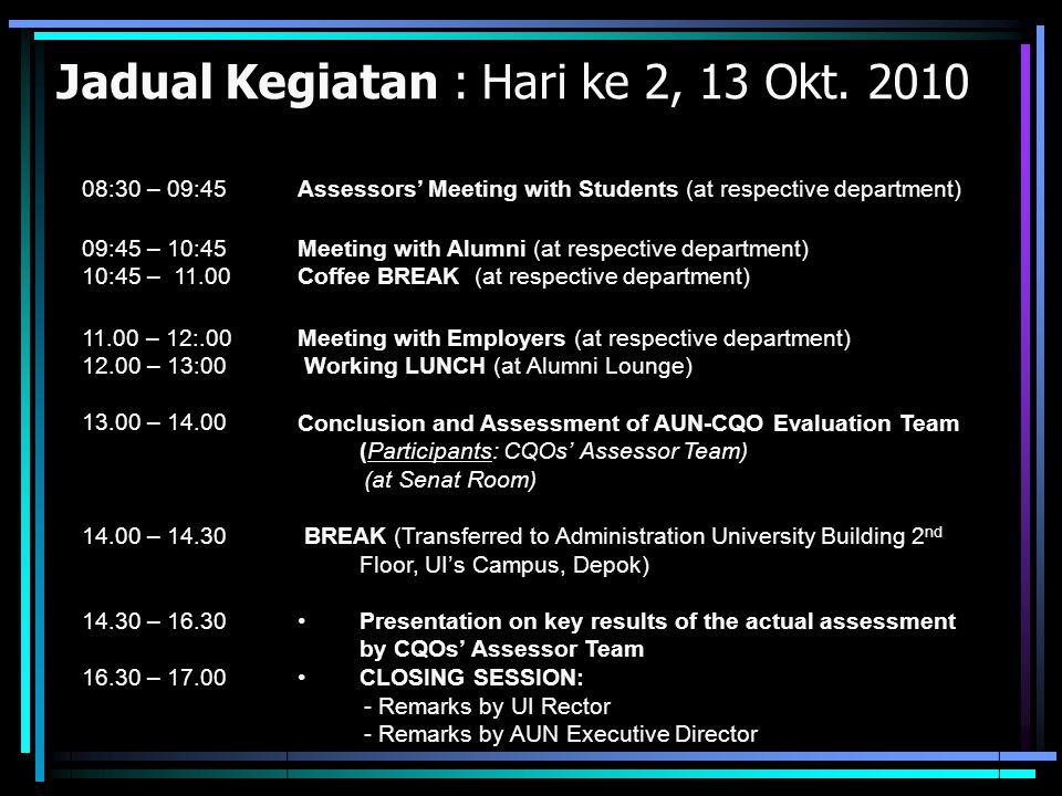 Jadual Kegiatan : Hari ke 2, 13 Okt. 2010 08:30 – 09:45Assessors' Meeting with Students (at respective department) 09:45 – 10:45 10:45 – 11.00 Meeting