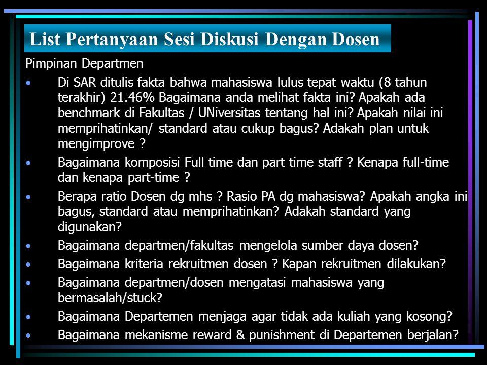 Pimpinan Departmen Di SAR ditulis fakta bahwa mahasiswa lulus tepat waktu (8 tahun terakhir) 21.46% Bagaimana anda melihat fakta ini? Apakah ada bench