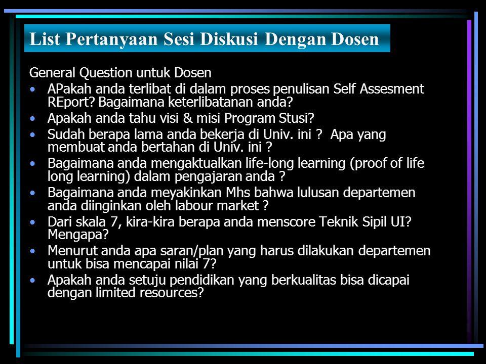 General Question untuk Dosen APakah anda terlibat di dalam proses penulisan Self Assesment REport? Bagaimana keterlibatanan anda? Apakah anda tahu vis